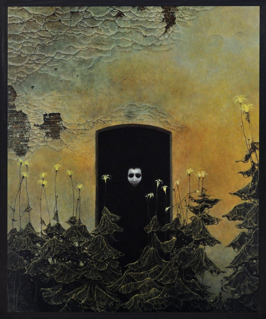 Zdzislaw Beksinski, Untitled, 1978, oil on fiberboard, ©Gallery of  Zdzisław Beksiński,  The Historical Museum, Sanok, Poland.