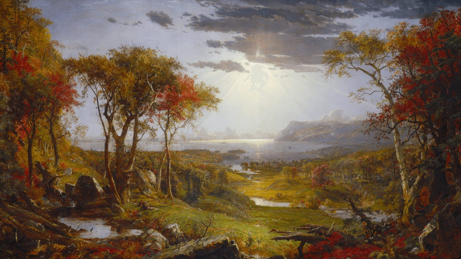 Autumn on the Hudson River by Jasper Cropsey (detail)