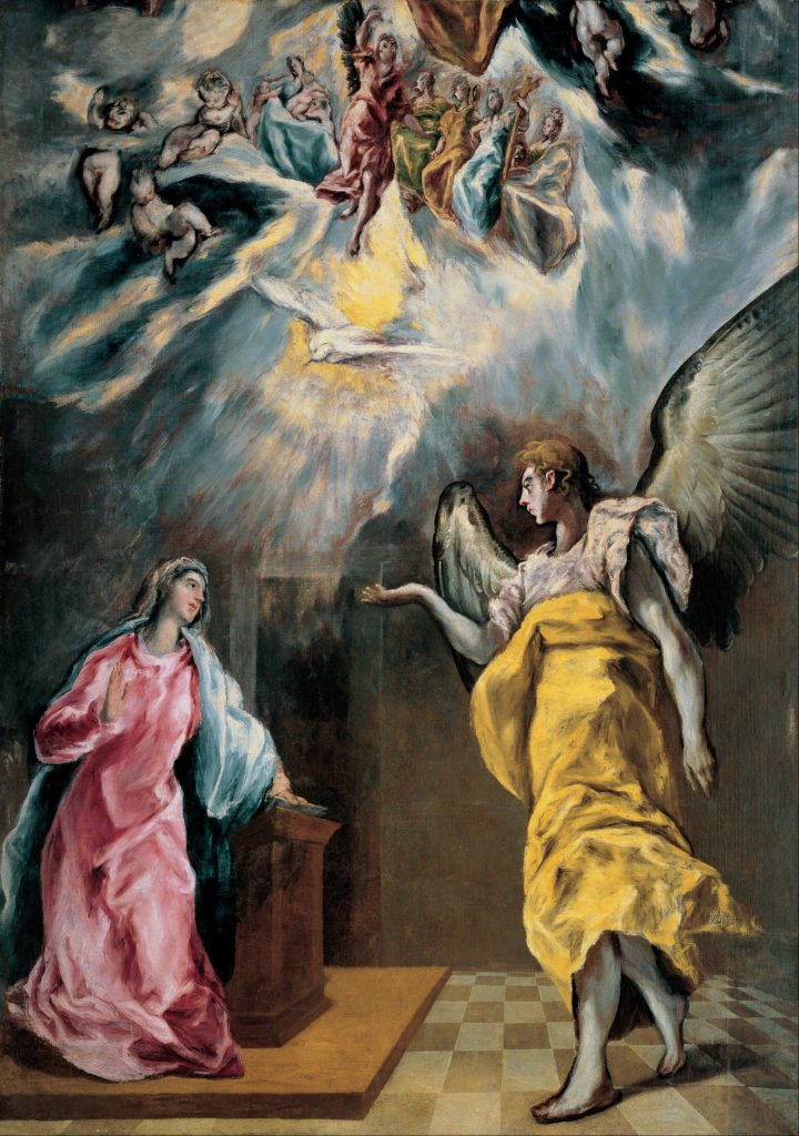 El Greco, The Annunciation, 1609, oil on canvas, Private collection, Madrid, Spain. artistic inspiration of Balenciaga
