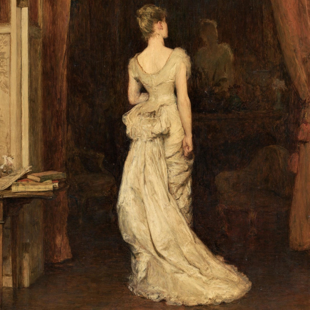 Sir William Orchardson, The First Cloud, 1887, National Gallery of Victoria, Melbourne.  Detail.  Lady in late Victorian cream dress.