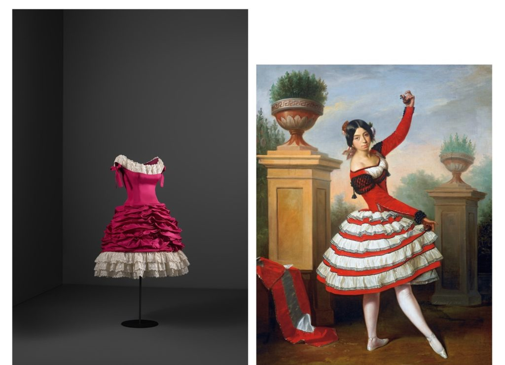 Left: Balenciaga, Cocktail dress, 1955, taffeta and embroidered cotton trim, Cristóbal Balenciaga Museoa, Getaria, Spain. artistic inspiration of BalenciagaRight: Antonio María Esquivel, The Dancer Josefa Vargas 1850, oil on canvas, Colección Duques de Alba, Palacio de las Dueñas, Sevilla, Spain.