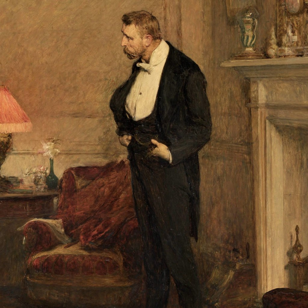 Sir William Orchardson, The First Cloud, 1887, National Gallery of Victoria, Melbourne.  Detail.  Gentleman in black suit.