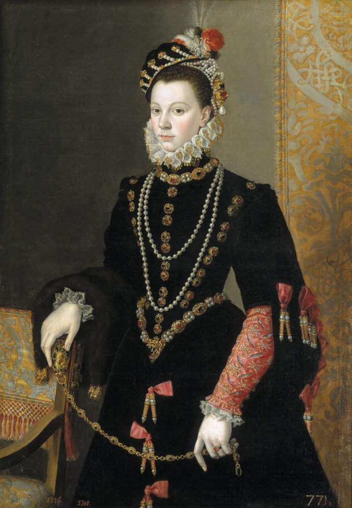 Juan Pantoja de la Cruz, Queen Elisabeth of Valois, third Wife of Philip I, c. 1605, oil on canvas,  Museo Nacional del Prado, Madrid, Spain.