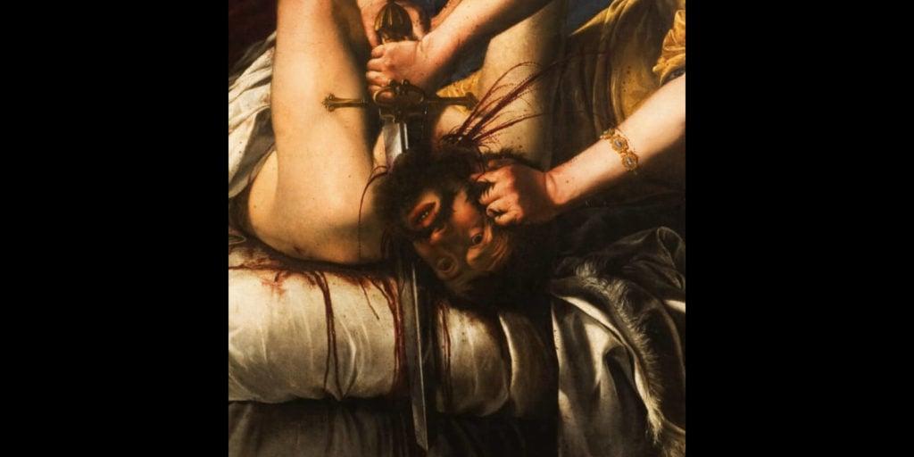 Artemisia Gentileschi, Judith Slaying Holofernes, 1613, Galleria degli Uffizi, Florence.  Detail of Holofernes.