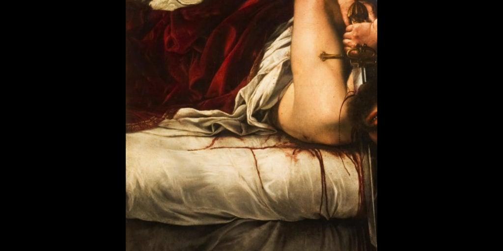 Artemisia Gentileschi, Judith Slaying Holofernes, 1613, Galleria degli Uffizi, Florence.  Detail of dripping blood.