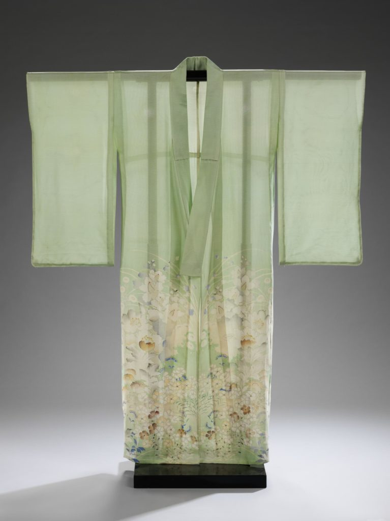 Kimono, Japan, 1955-1958, given by Sarah Brooks in memory of her mother Bernice Eileen (Wiese) Boo, Victoria and Albert Museum, London, UK.