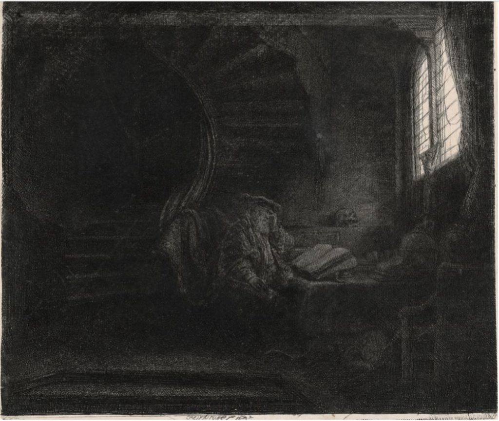 Rembrandt, St Jerome in a Dark Chamber, ca 1642, The Rembrandt House Museum, Amsterdam, Rembrandt's Light