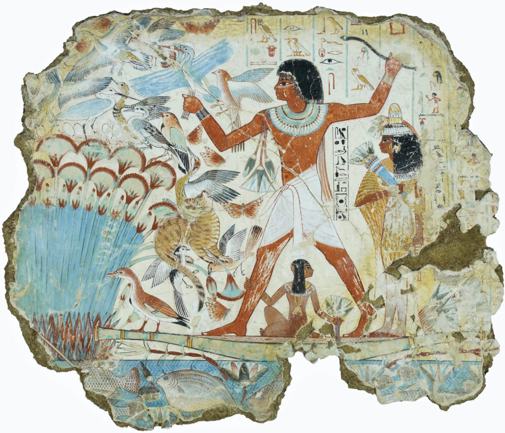 Artist Unknown, Fowling in the Marshes, ca. 1350 BCE, British Museum, London.  Entire Fresco.