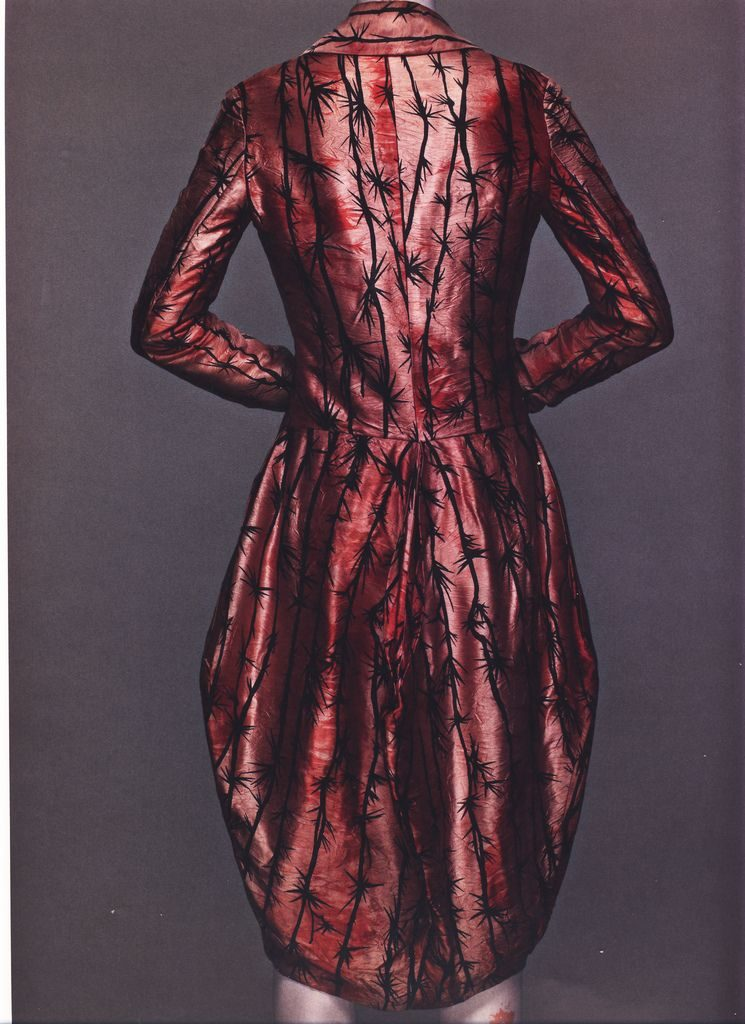 Alexander McQueen, Jack The Ripper Stalks His Victims collection, Coat, ink silk satin printed in thorn pattern lined in white silk with encapsulated human hair, Source: The Metropolitan Museum of Art, New York, USA.