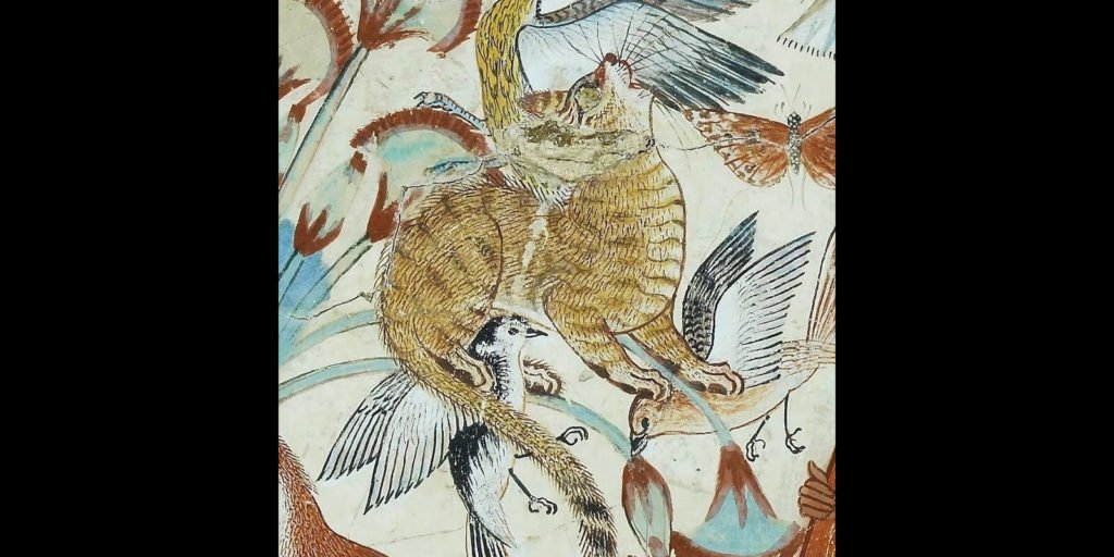 Artist Unknown, Fowling in the Marshes, ca. 1350 BCE, British Museum, London. Detail of cat.