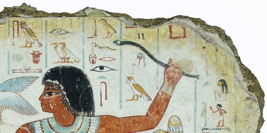 Artist Unknown, Fowling in the Marshes, ca. 1350 BCE, British Museum, London. Detail of hieroglyphic rows.