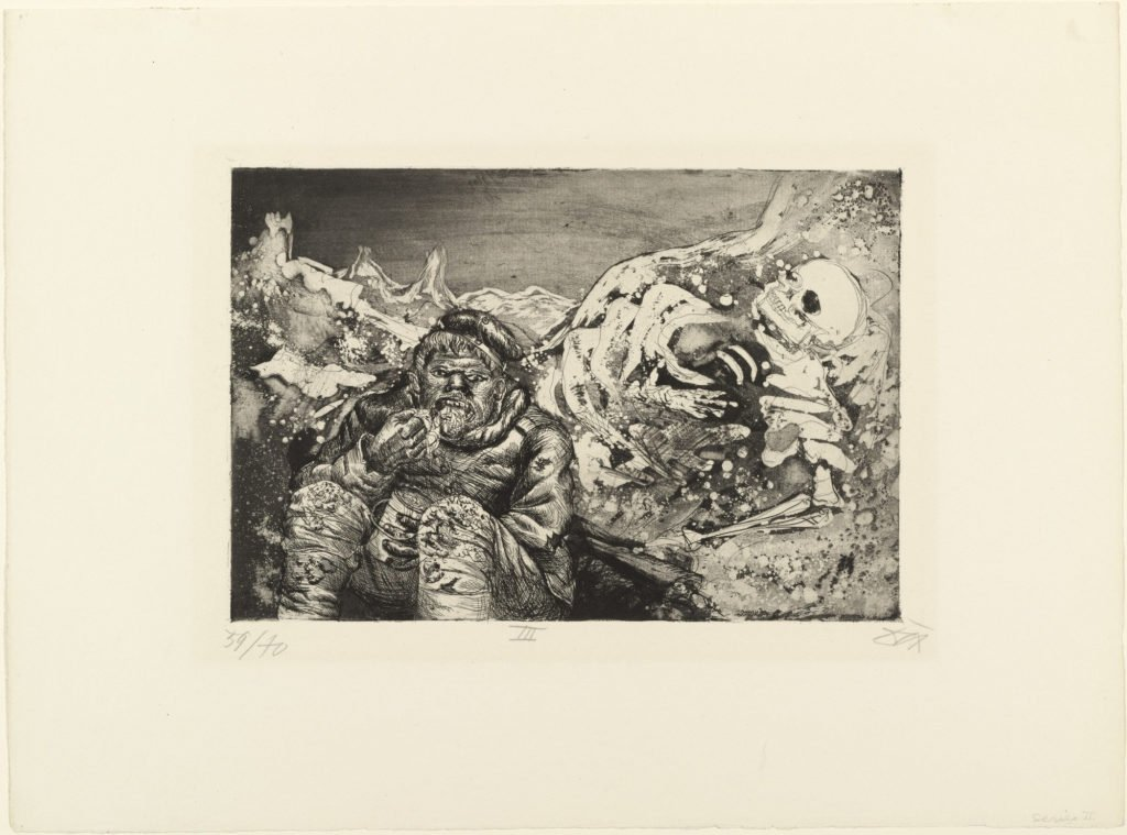Mealtime in the Trench (Loretto Heights), from The War, 1924, etching and aquatint from a portfolio of fifty etching, aquatint and drypoints, © 2016 Artists Rights Society (ARS), New York / VG Bild-Kunst, Bonn.