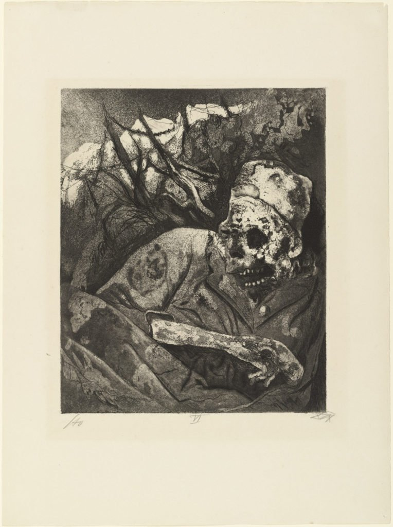 Corpse in barbed wire (Flander), from The War, 1924, etching and aquatint from a portfolio of fifty etching, aquatint and drypoints, © 2016 Artists Rights Society (ARS), New York / VG Bild-Kunst, Bonn. etchings of Otto Dix