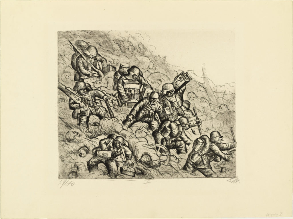 Machine-gun squad advances (Somme, November 1916), from The War, 1924, etching and aquatint from a portfolio of fifty etching, aquatint and drypoints,  © 2016 Artists Rights Society (ARS), New York / VG Bild-Kunst, Bonn.