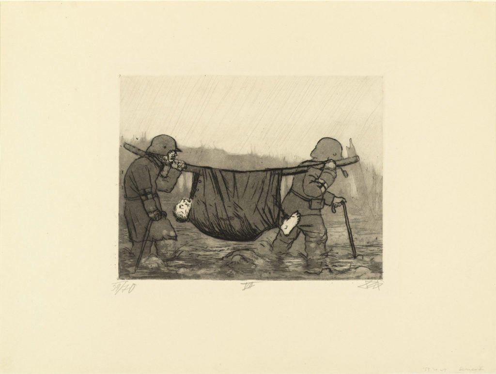 Transporting the wounded in Houthulst Forest, from The War, 1924, etching, aquatint, and drypoint from a portfolio of fifty etching, aquatint and drypoints,  © 2016 Artists Rights Society (ARS), New York / VG Bild-Kunst, Bonn.