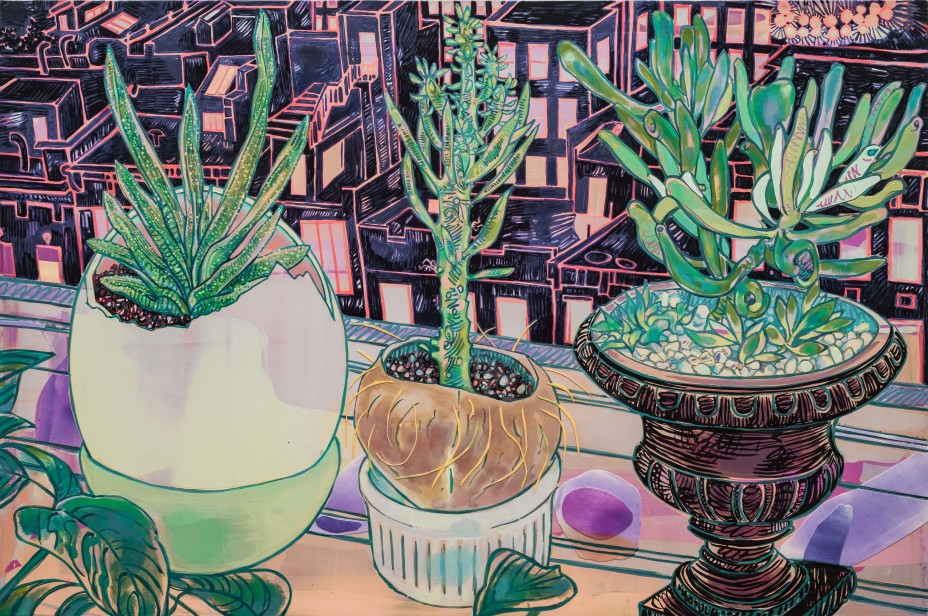 flower with cityscape; Hope Gangloff; Vincent van Gogh revisited