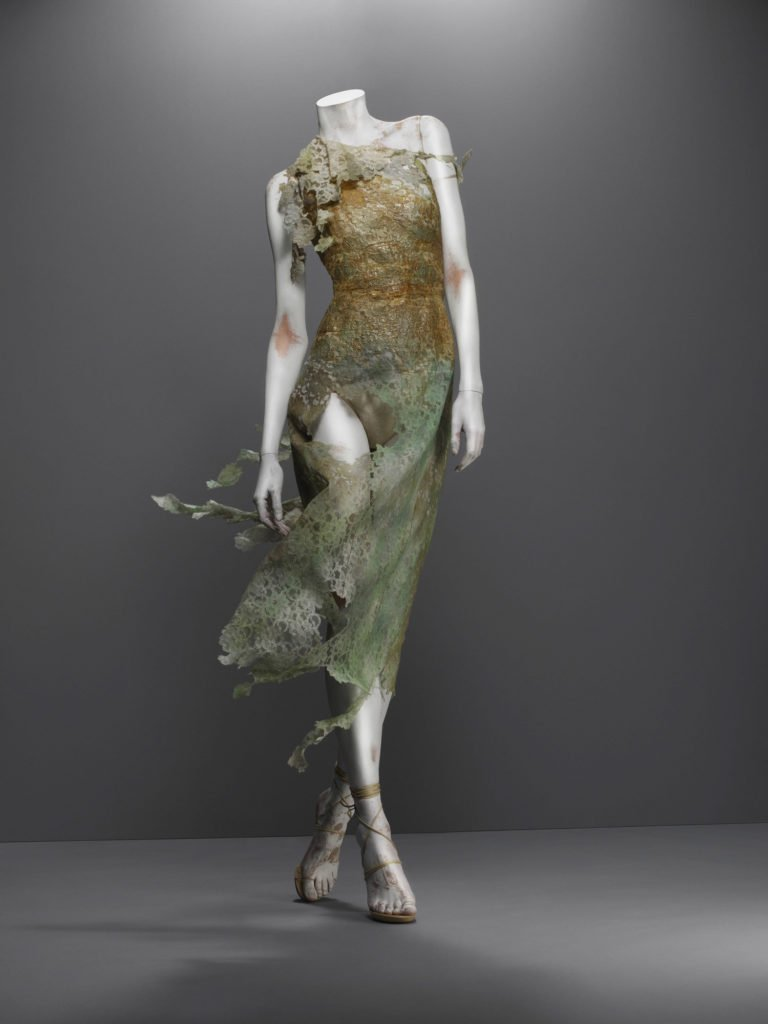 Alexander McQueen, Highland Rape collection, F/W 1995-6, Dress, green and bronze cotton/synthetic lace, Source: The Metropolitan Museum of Art, New York, USA.