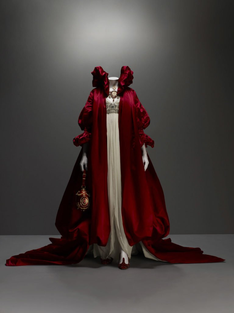 Alexander McQueen, The Girl Who Lived In A Tree collection, F/W 2008-9, Ensemble, coat of red silk satin; dress of ivory silk chiffon embroidered with crystal beads, Source: The Metropolitan Museum of Art, New York, USA.