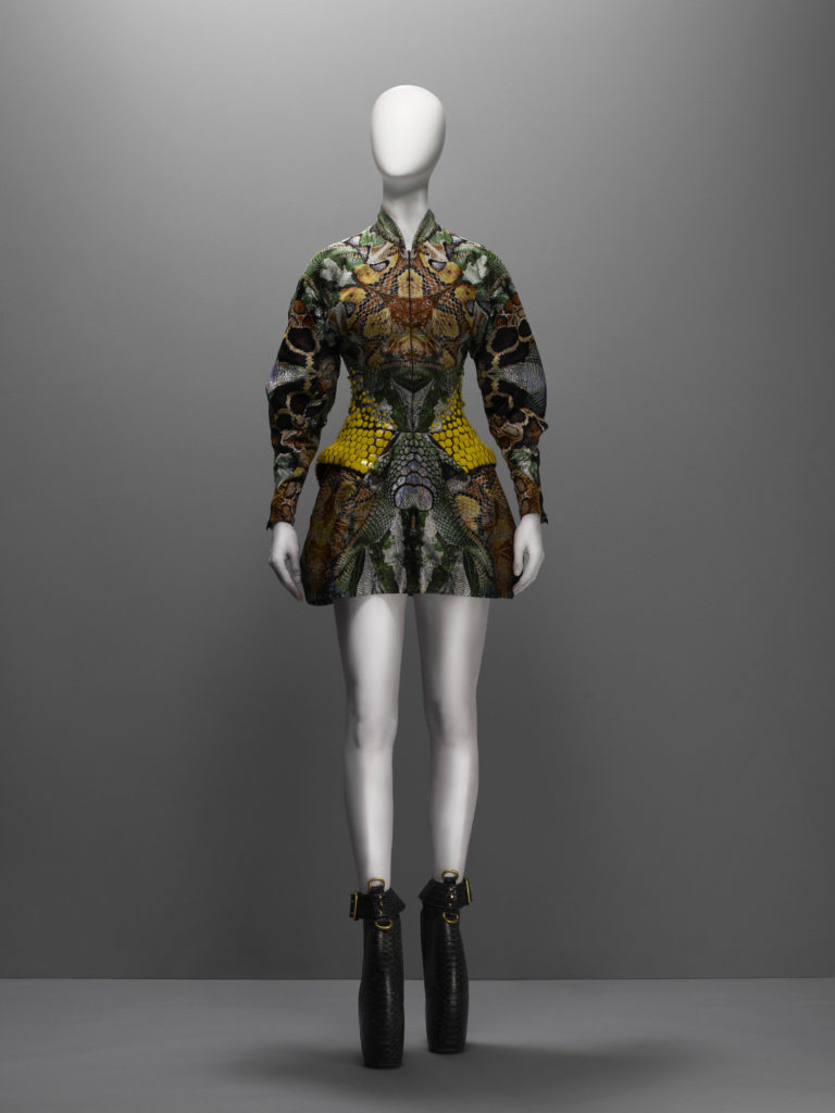 Alexander McQueen, Plato's Atlantis collection, S/S 2010, Dress, silk jacquard in a snake pattern embroidered with yellow enamel paillettes in a honeycomb pattern, Source: The Metropolitan Museum of Art, New York, USA.