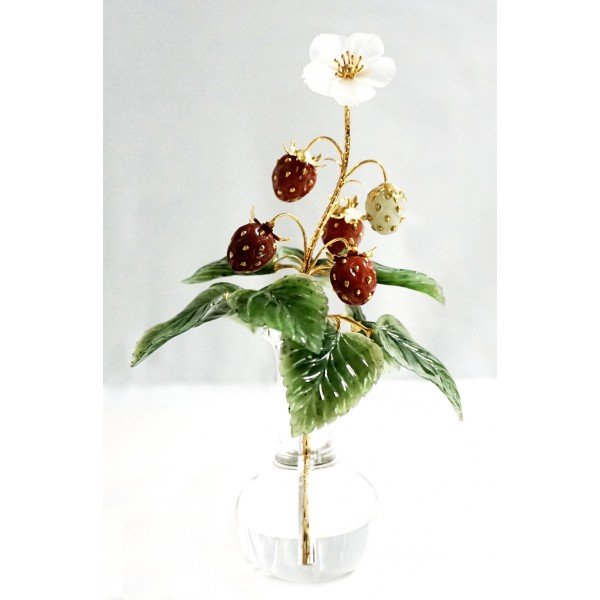 State Hermitage, Faberge Wild Strawberry Carved Stone Bouquet - Christmas Gifts from Museums