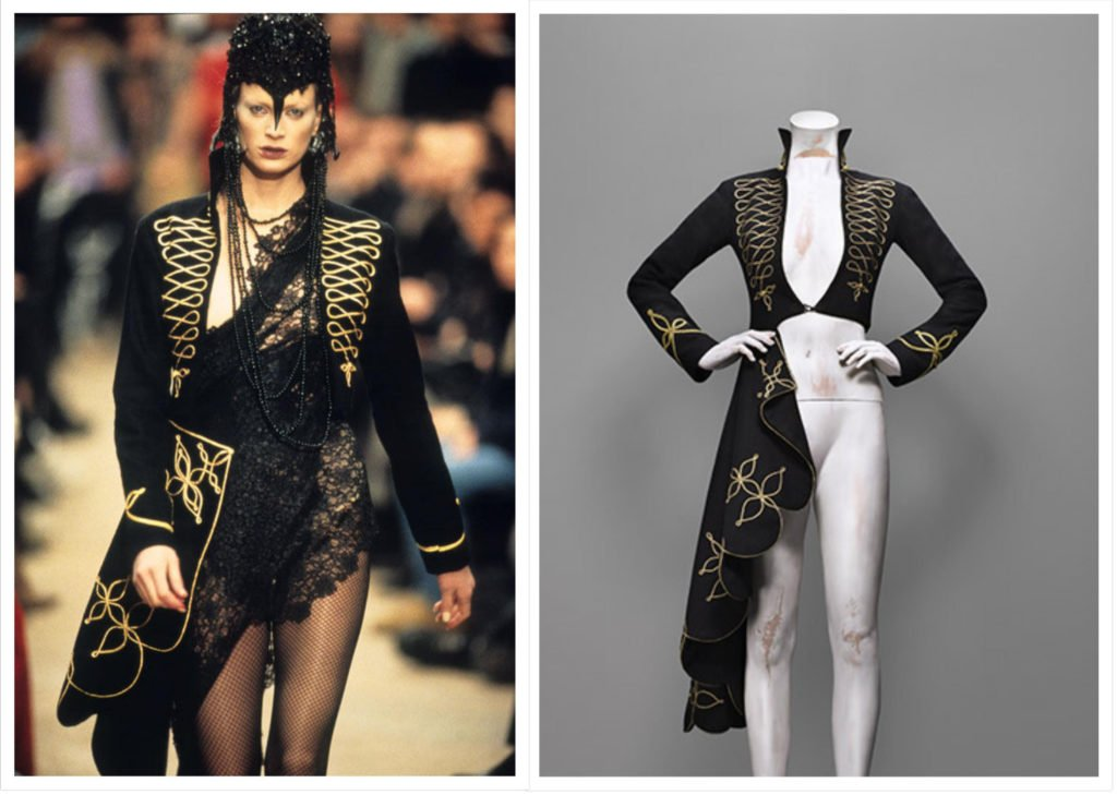 Alexander McQueen, Dante collection, F/W 1996-7, Coat, black wool felt embroidered with gold bullion cord, Source: The Metropolitan Museum of Art, New York, USA.