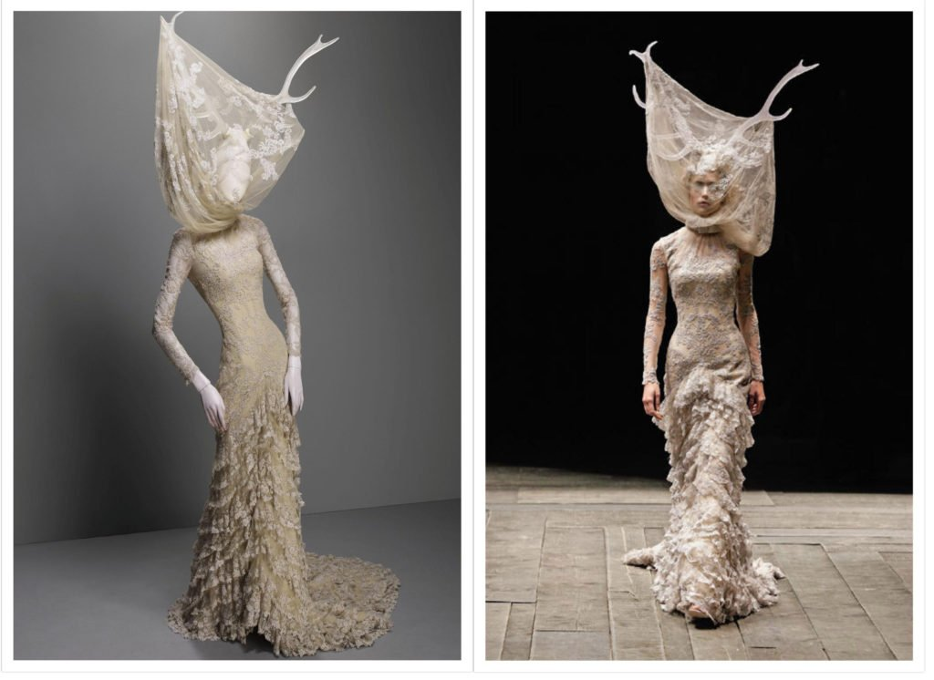 Alexander McQueen, Widows of Culloden collection, F/W 2006-7, Dress, cream silk tulle and lace with resin antlers, Source: The Metropolitan Museum of Art, New York, USA.
