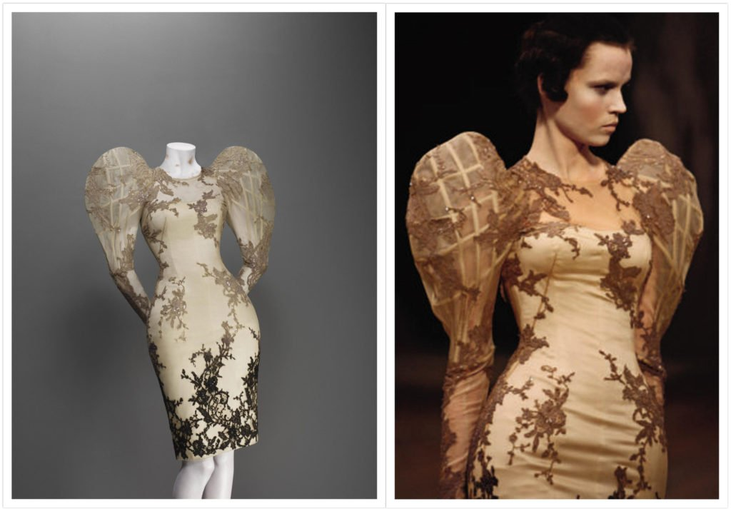 Alexander McQueen, Sarabande collection, S/S 2007, Dress, cream silk satin and organza appliquéd with black degrade silk lace and embroidered in clear beads and sequins, Source: The Metropolitan Museum of Art, New York, USA.