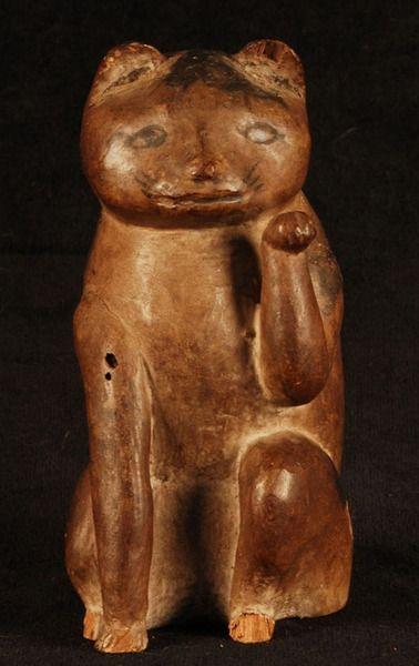 Maneki Neko Carved Wood Sculpture