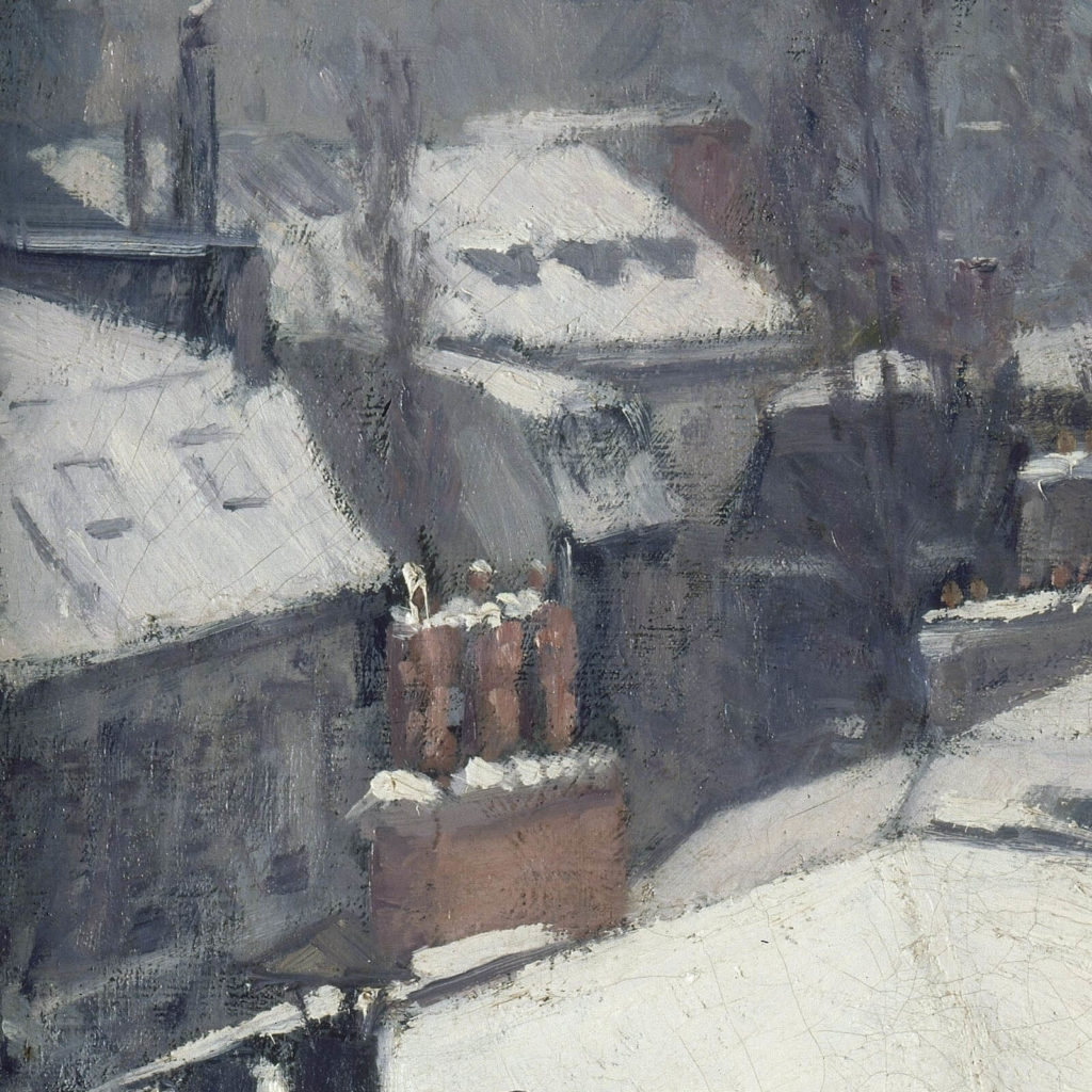 Gustave Caillebotte, Rooftops in the Snow, 1878, Musée d'Orsay, Paris. Detail of chimney and slanting roof.