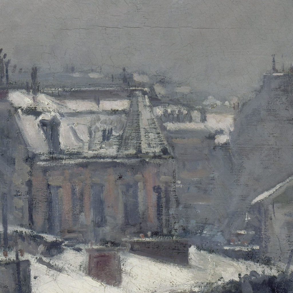 Gustave Caillebotte, Rooftops in the Snow, 1878, Musée d'Orsay, Paris. Detail of distant house.