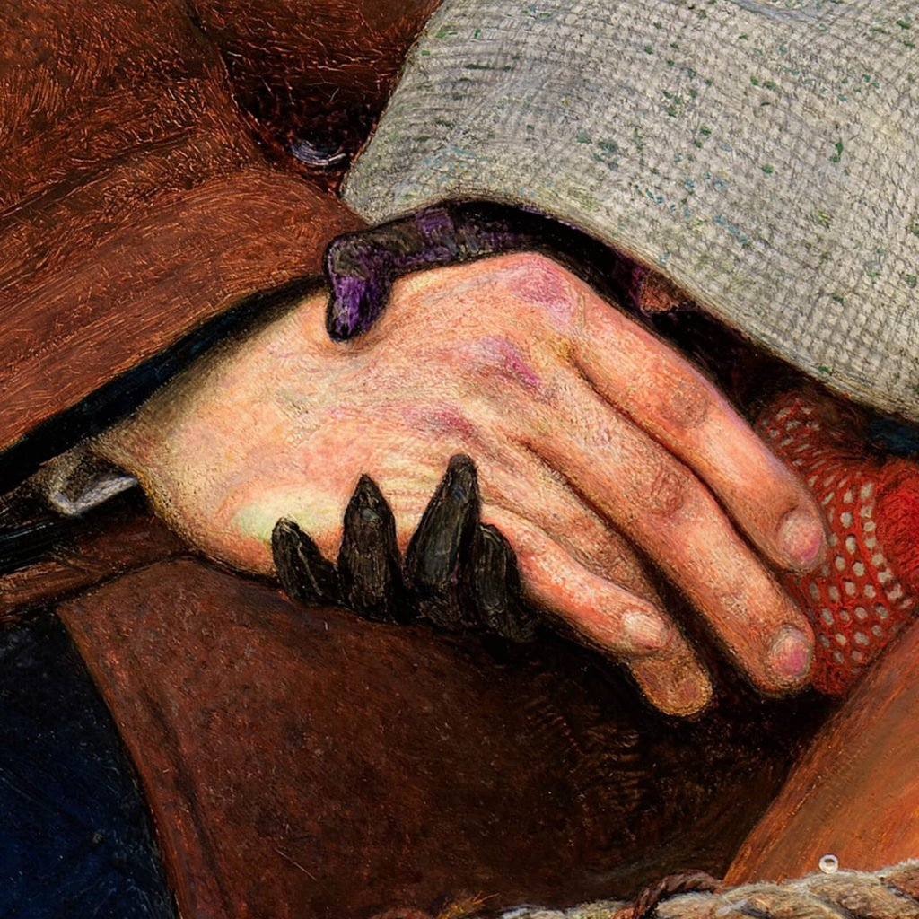 Ford Madox Brown, The Last of England, 1855, Birmingham Museum & Art Gallery, Birmingham. Enlarged detail of clasped hands.
