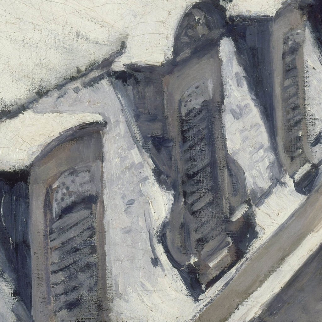 Gustave Caillebotte, Rooftops in the Snow, 1878, Musée d'Orsay. Detail of window dormers.
