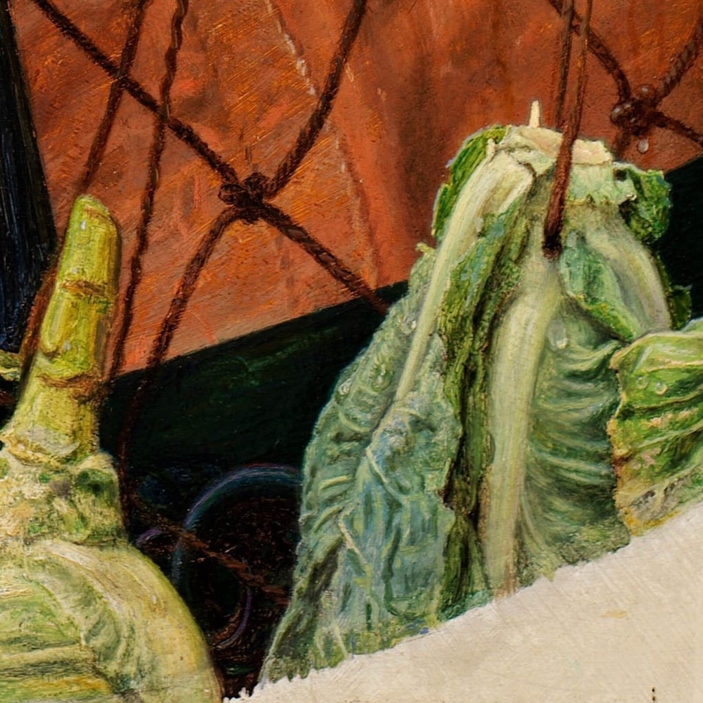 Ford Madox Brown, The Last of England, 1855, Birmingham Museum & Art Gallery, Birmingham. Enlarged detail of green cabbages.