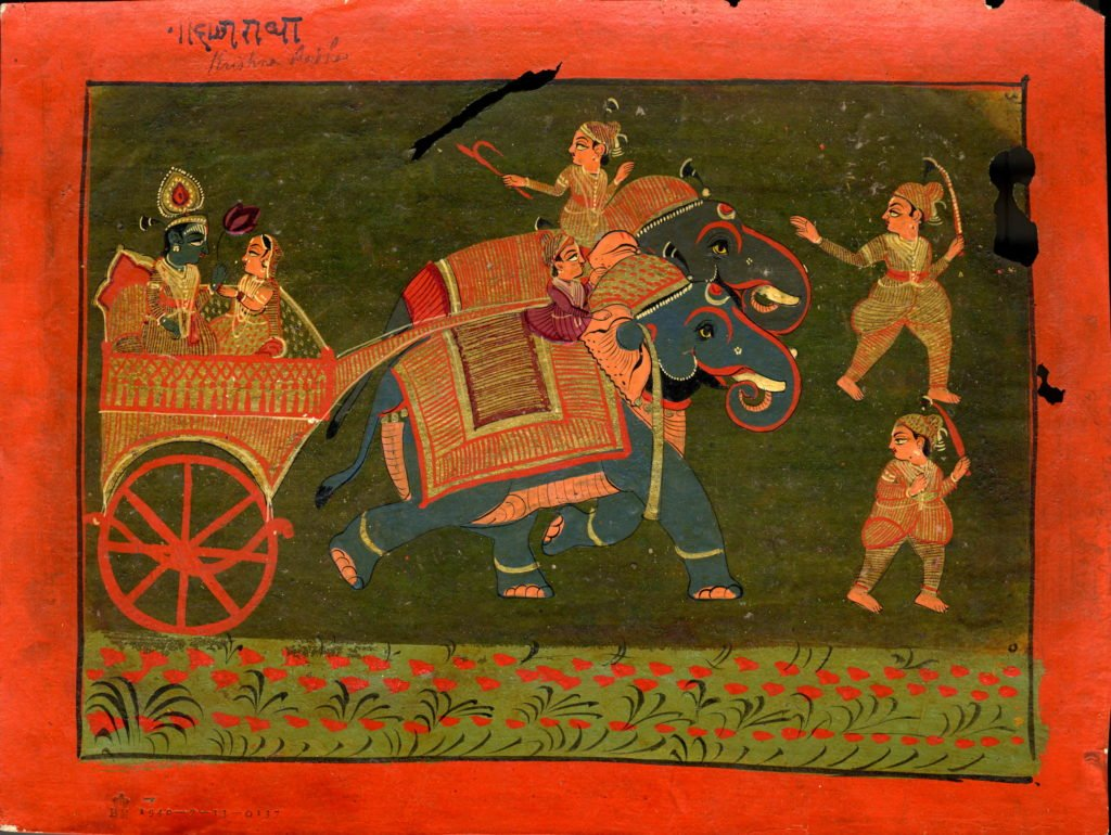 Radha and Krishna in Art: Rādhā and Kṛṣṇa, holding an oversized lotus flower, are seated in a chariot drawn by two elephants, ca. 1800, Rajasthan School,