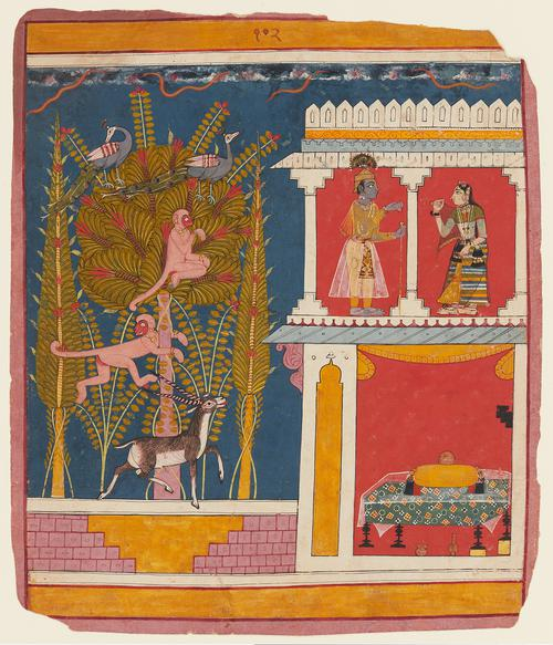 Krishna Greets Radha on a Balcony, ca. 1660, central India art