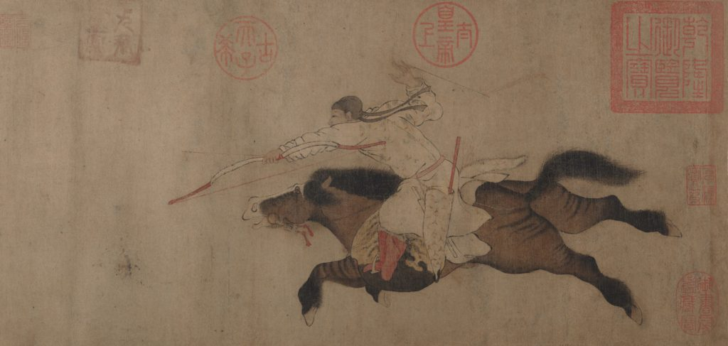 man on the horse, flying gallop into space by Huang Zongdao, traditional  Chinese painting