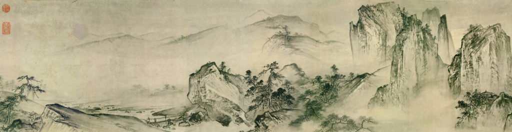 painted landscape with trees in the foreground and mountains in the background