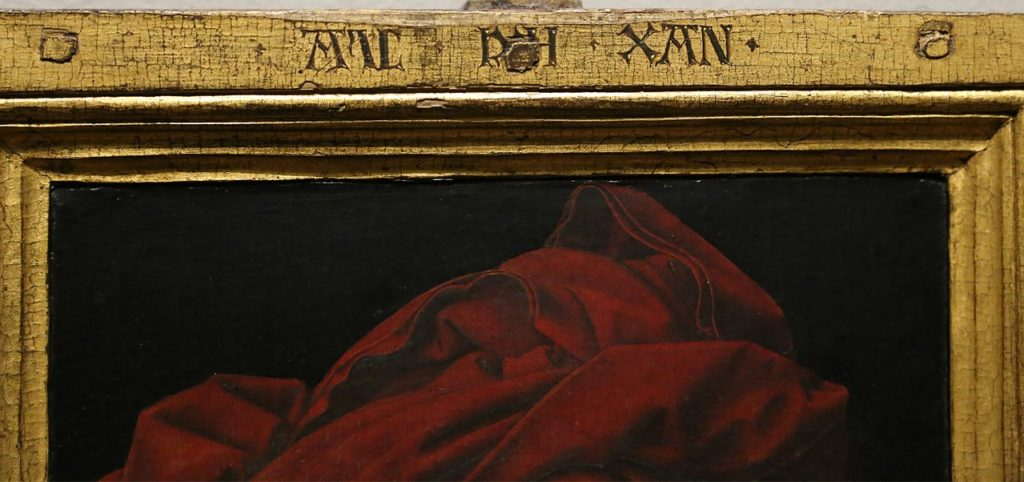 Frame of Jan van Eyck's Portrait of a Man (Self Portrait?), 1433. National Gallery, London with Als ich kan signature