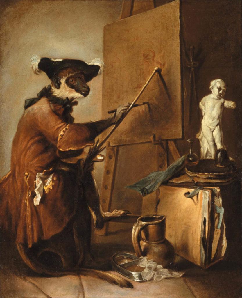 Jean-Baptiste Chardin, The Monkey Painter, 1739-40, Musée du Louvre, Paris.  Full-size image.
