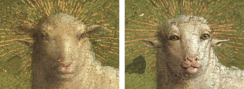 The Lamb of God before (left) and after the restoration (right). Detail from the Ghent Altarpiece.