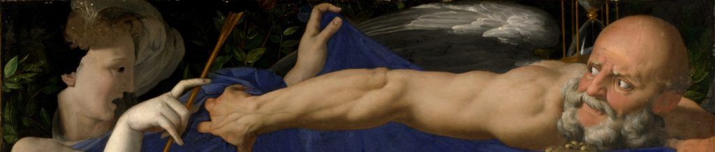 Agnolo Bronzino, An Allegory with Venus and Cupid, ca 1545, National Gallery London, detail