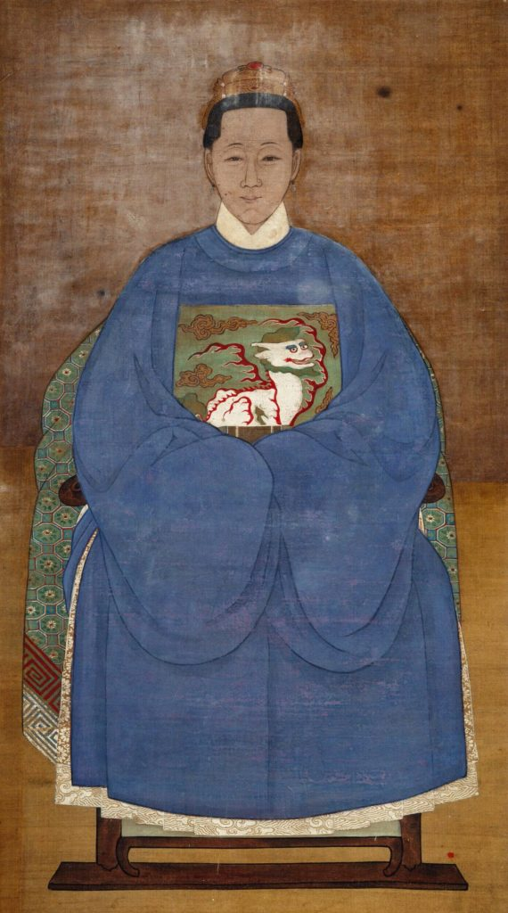 Ancestor portrait of the noblewoman in the blue robe with the colorful lion insignia, China, Ming dynasty (1368 - 1644)