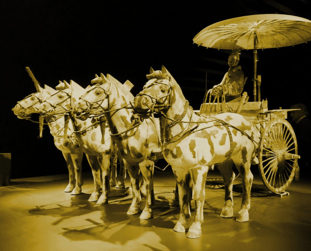 The bronze chariot and horses with the driver, Emperor Qinshihuang's Mausoleum Site Museum, Shaanxi, China.