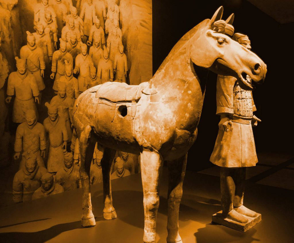 The Terracotta Army cavalryman standing with the horse.