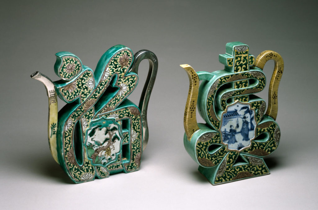 Chinese New Year - famille verte wine pots in the form of fu and shou characters