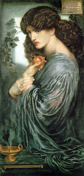 Jane Morris as Proserpine, the lover of Hades,with a split pomegranate in her hand