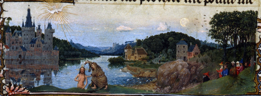 Bas-de-page of the Baptism of Christ, Hand G, Turin. Milan Filio 93v, Inv 47. Hand G is now being attributed to Jan Van Eyck.
