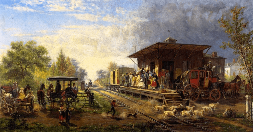 (Train) Station on the Morris and Essex Railroad by Edward Lamson Henry