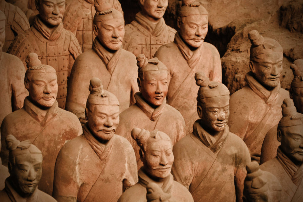 The Terracotta Army warriors with distinct facial features, Emperor Qinshihuang's Mausoleum Site Museum, Shaanxi, China.