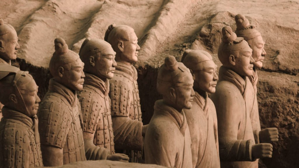 The Terracotta Army warriors meant to hold actual weapons, Emperor Qinshihuang's Mausoleum Site Museum, Shaanxi, China.